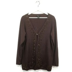 BCBG Maxazria 1X Cardigan Brown Beaded Embroidered